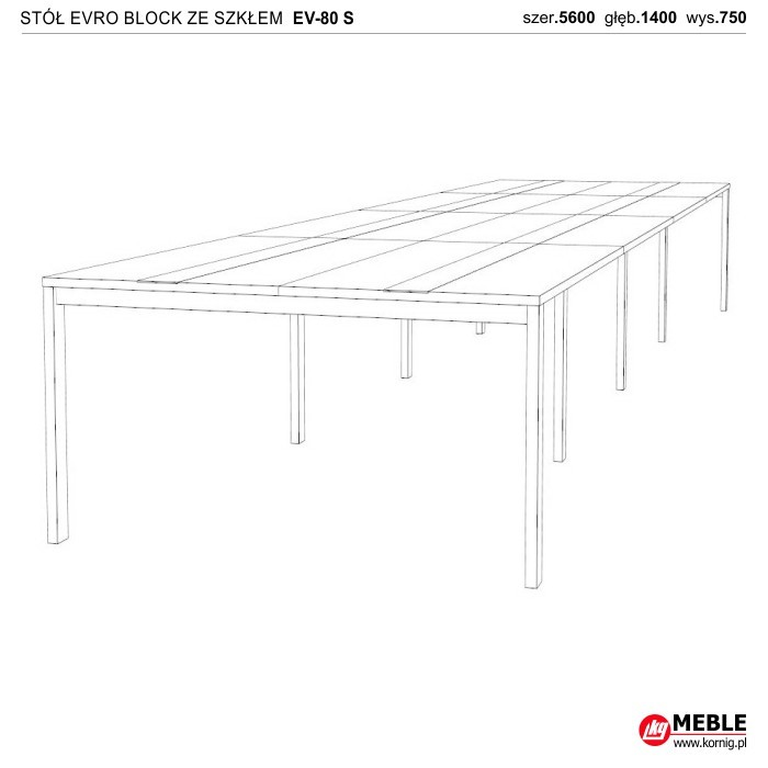 Stół Evro Block ze szkłem EV-80 S